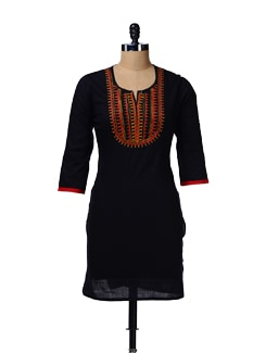 Black Embroidered Kurta - AFSANA