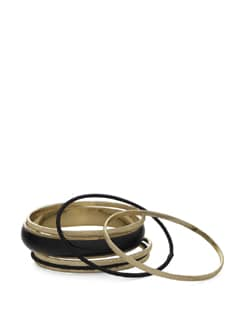 Set Of Black And Gold Bangles - Toniq