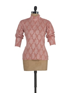 Pink Brocade Turtle Neck Top - ENAH