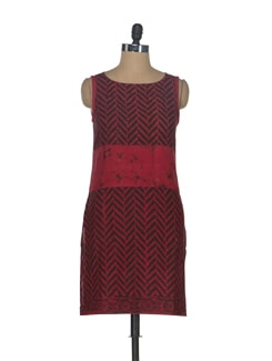 Red & Brown Batik Kurta - ENAH