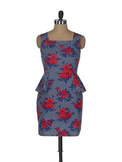 Blue & Red Peplum Rose Print Dress - ENAH