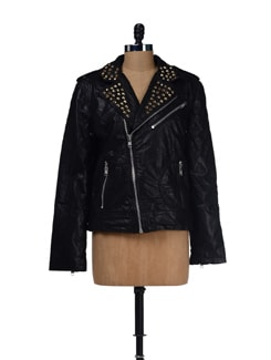 Rockstud Black Leather Jacket - Bareskin