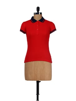 Bright Red Polo Tee - Femella