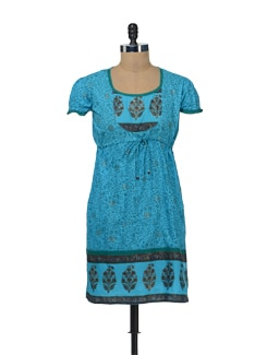 Printed Blue Kurta With Puff Sleeves - Bohemyan Blue