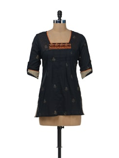Black Embroidered Short Kurti - Bohemyan Blue