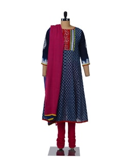 Elegant Navy-Magenta Suit - Global Desi