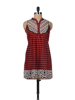 Red & Black Diamond Print Kurta - Global Desi