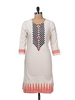 Elegant Off-White Embroidered Kurta - Global Desi