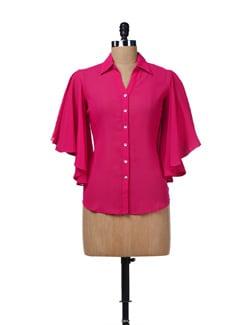 Fushcia Pink Sheer Top - AND