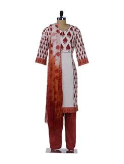 Orange & White Printed Suit - KILOL