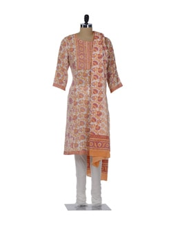 Dull Orange & Pink Printed Floral Suit - KILOL