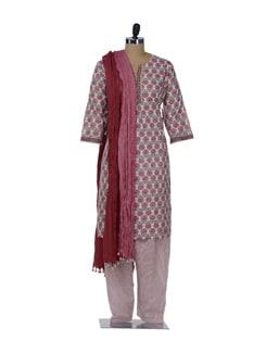 Red & Green Floral Salwar-Kameez Set - KILOL