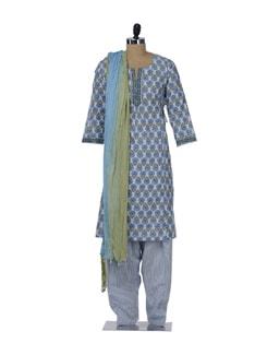 Blue & Green Floral Salwar-Kameez Set - KILOL