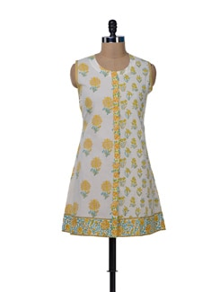 White & Yellow Printed Floral Kurta - KILOL