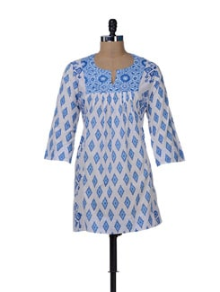 Stylish Blue & White Printed Kurti - KILOL
