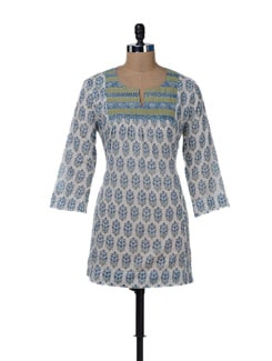 Ethnic White & Blue Kurti With Butis - KILOL