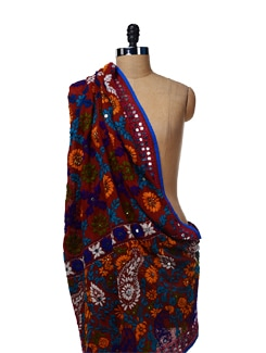 Brown Embroidered Dupatta - Vayana