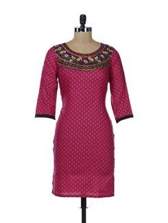 Printed Pink Kurta With Mirror Embellished Neckline. - Varenya