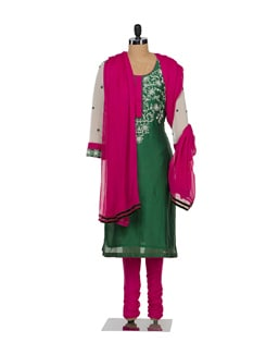 Elegant Green & Pink Floral Suit - Varan