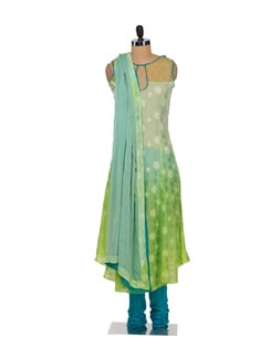 Lime Green & Blue Designer Suit - Varan