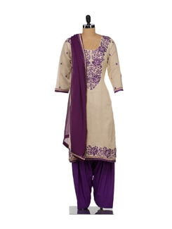Chic Beige & Purple Embroidered Suit - Varan
