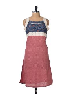 Blue & Pink Cotton Kurta With Crochet - Varan
