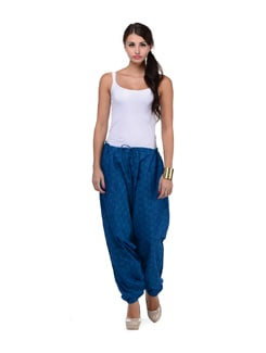 Turquoise Blue Printed Harem Pants - Ashita