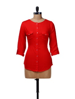 Trendy Red Shirt With Front Pockets - Cottinfab