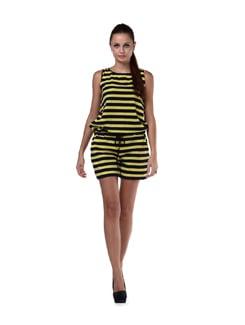 Navy & Yellow Striped Short Jumpsuit - Cottinfab