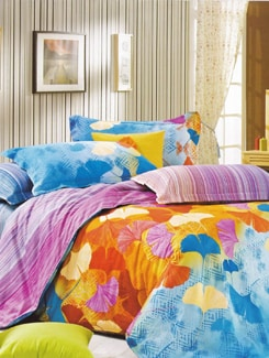 Multicolour Leafy Printed Luxury Flat Bedsheet Set - Just Linen