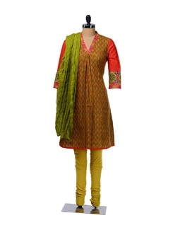 Vibrant Printed Cotton Suit - KURTAWALA