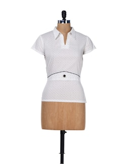 Shirt Collared Polka Dot Top - MARTINI