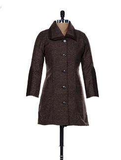 Zigzag Pattern Woollen Jacket With A Double Collar - MARTINI