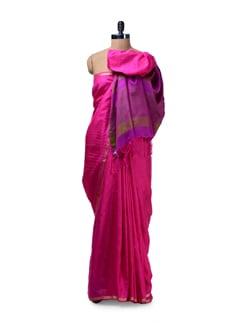 Elegant Candy Pink & Purple Saree - Saboo