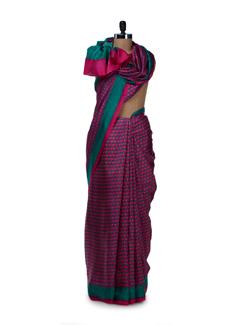 Elegant Pink & Green Printed Saree - Saboo