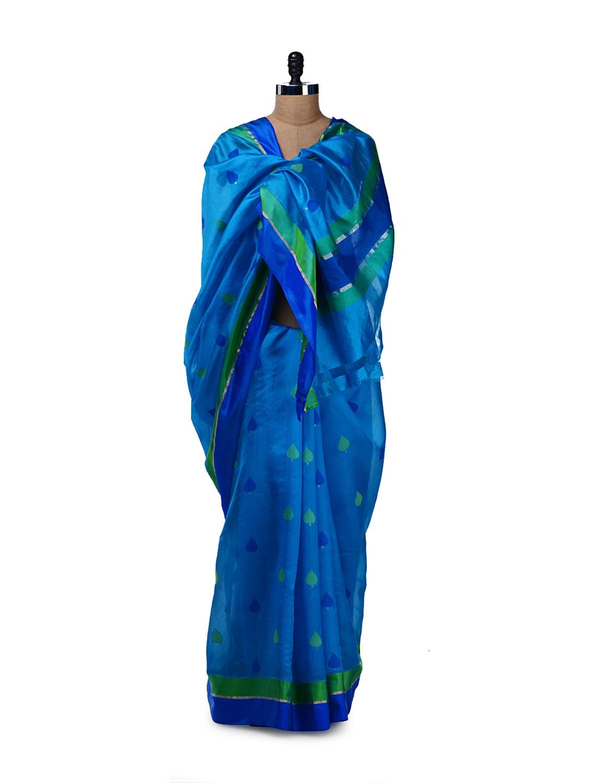 Peacock Blue & Green Silk Saree - Saboo