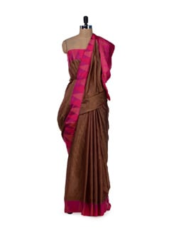 Designer Brown & Pink Printed Saree - Saboo