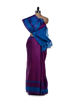 Purple & Blue Striped Saree - Saboo