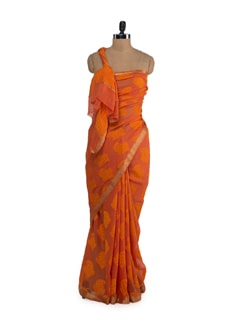 Designer Orange-Yellow Silk Saree - Saboo