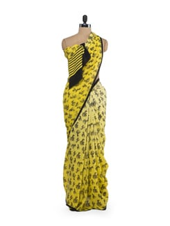 Yellow Zebra Print Saree - Saboo