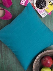Teal Blue Cotton Cushion Cover