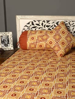 Printed Diwan Set With 2 Bolster Cover And 2 Cushion Covers - HOUSE THIS