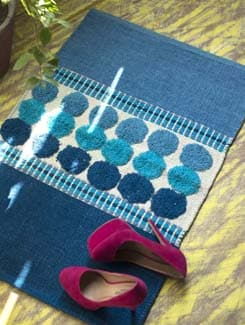 Circle Print Floor Rug- Blue - HOUSE THIS