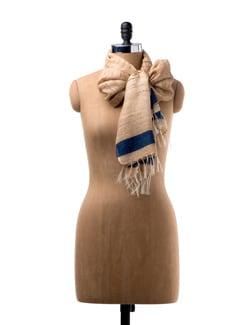 Beige Silk Scarf With Navy Blue Border - WELKIN