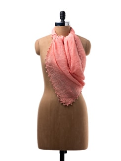 Crinkled Cotton Scarf With Embroidery On The Edges - WELKIN