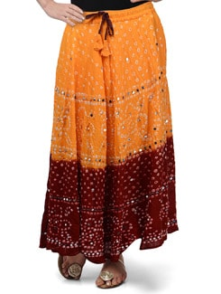 Orange & Maroon Jaipuri Bandhej Long Skirt - Ruhaan's