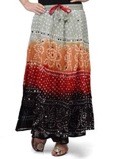 Ethnic Jaipuri Bandhej Long Skirt - Ruhaan's