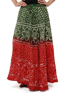 Green & Orange Jaipuri Bandhej Long Skirt - Ruhaan's