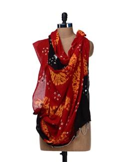 Red & Black Jaipuri Bandhej Dupatta - Ruhaan's