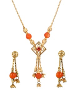 Gold & Orange Necklace & Earrings - A.J. Accessories